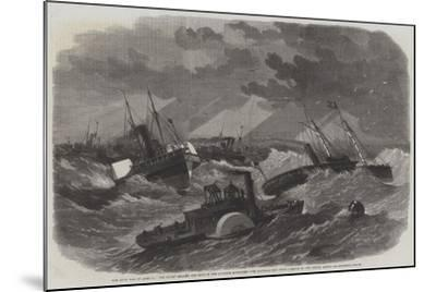 The Civil War in America, the Picket Leading the Ships of the Burnside Expedition over Hatteras Bar-Edwin Weedon-Mounted Giclee Print