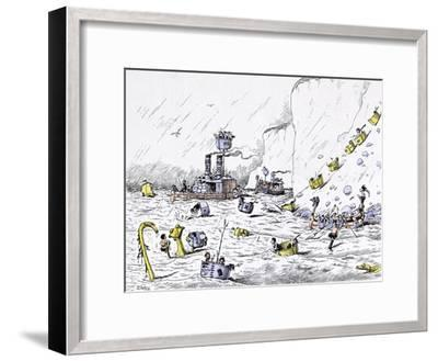 The Naval Manoeuvres Afforded Much Pleasurable Excitement to Those Concerned-Edward Tennyson Reed-Framed Giclee Print
