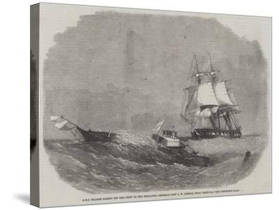 HMS Diadem Taking Off the Crew of the Dismasted American Ship C W Connor, Near Bermuda-Edwin Weedon-Stretched Canvas Print
