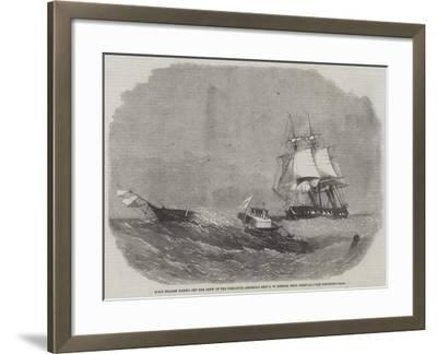 HMS Diadem Taking Off the Crew of the Dismasted American Ship C W Connor, Near Bermuda-Edwin Weedon-Framed Giclee Print