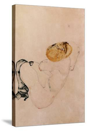 Scared, Crouching Young Girl, 1912-Egon Schiele-Stretched Canvas Print