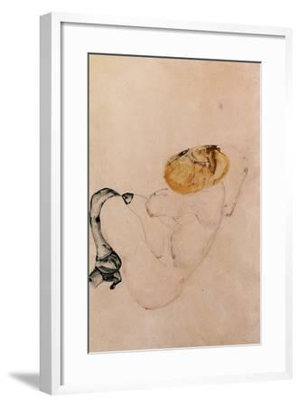 Scared, Crouching Young Girl, 1912-Egon Schiele-Framed Giclee Print