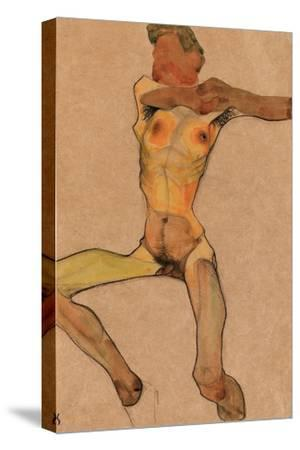 Male Nude, Yellow, 1910-Egon Schiele-Stretched Canvas Print