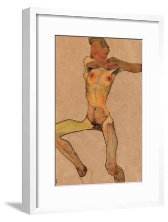 Male Nude, Yellow, 1910-Egon Schiele-Framed Giclee Print