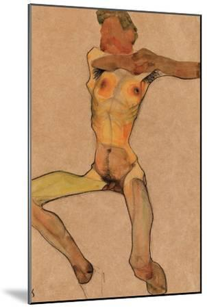 Male Nude, Yellow, 1910-Egon Schiele-Mounted Giclee Print