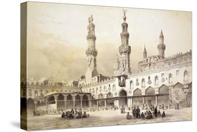 Main Courtyard of Al-Azhar Mosque (10th Century) in Cairo-Emile Prisse d'Avennes-Stretched Canvas Print