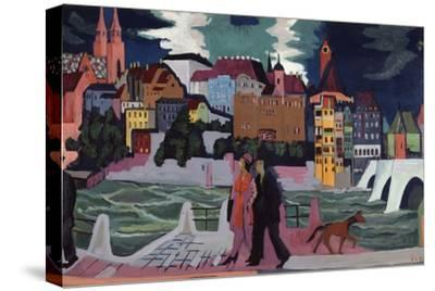 View of Basel and the Rhine, 1927-28-Ernst Ludwig Kirchner-Stretched Canvas Print