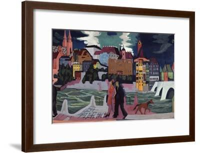 View of Basel and the Rhine, 1927-28-Ernst Ludwig Kirchner-Framed Premium Giclee Print