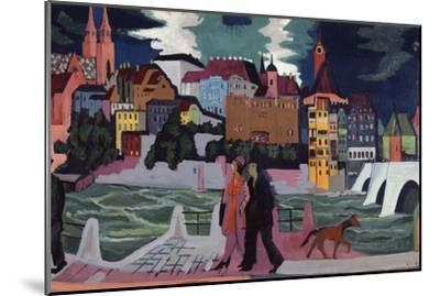 View of Basel and the Rhine, 1927-28-Ernst Ludwig Kirchner-Mounted Premium Giclee Print