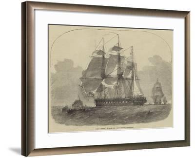HMS Nankin, 50 Guns, Honourable Keith Stewart, Commander-Edwin Weedon-Framed Giclee Print