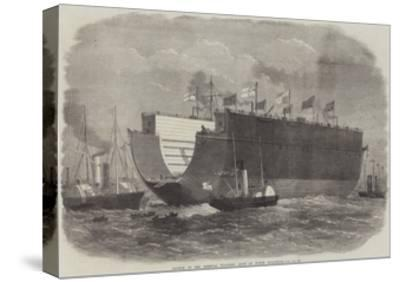 Launch of the Bermuda Floating Dock at North Woolwich-Edwin Weedon-Stretched Canvas Print