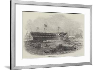 Launch of the Meanee, 80 Guns, at Bombay-Edwin Weedon-Framed Giclee Print