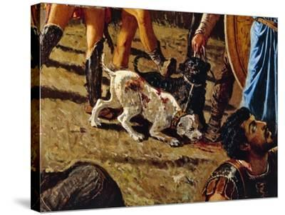 Dogs in Battlefield, Detail from the Triumph of Marius-Francesco Saverio Altamura-Stretched Canvas Print