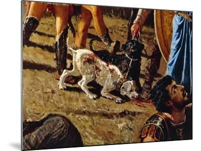 Dogs in Battlefield, Detail from the Triumph of Marius-Francesco Saverio Altamura-Mounted Giclee Print
