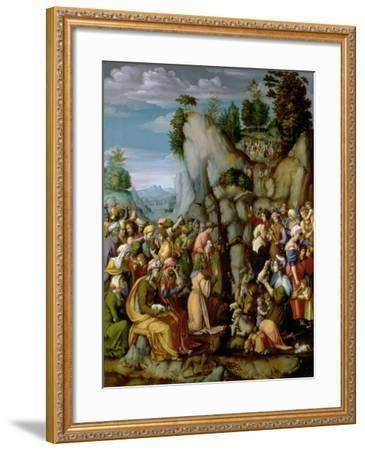 Moses Striking the Rock, after 1525 (Panel)-Francesco Ubertini Bacchiacca Il-Framed Giclee Print