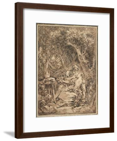 Lovers Surprised (Annette Et Lubin), Early 1760s-Francois Boucher-Framed Giclee Print