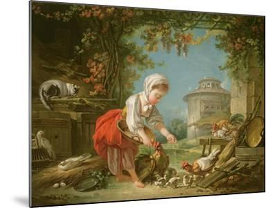 The Little Farm Maid, 1752-Francois Boucher-Mounted Giclee Print