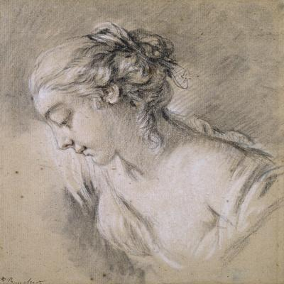 Bust of a Girl in Profile to Left-Francois Boucher-Stretched Canvas Print