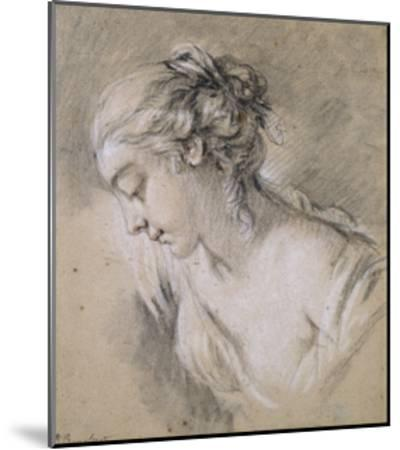 Bust of a Girl in Profile to Left-Francois Boucher-Mounted Giclee Print