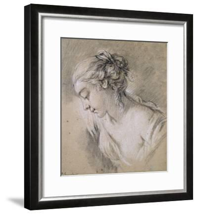 Bust of a Girl in Profile to Left-Francois Boucher-Framed Giclee Print