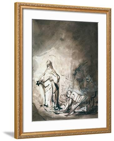 Saul and the Witch of Endor-Ferdinand Bol-Framed Giclee Print