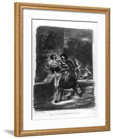 Mephistopheles and Faust Escaping after Valentine's Death-Eugene Delacroix-Framed Giclee Print