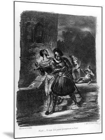 Mephistopheles and Faust Escaping after Valentine's Death-Eugene Delacroix-Mounted Giclee Print