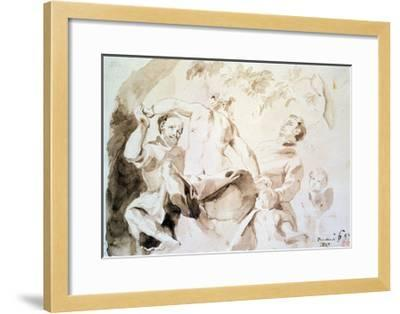 Study after Veronese's Allegory of Love, 1837 (Pen and Ink and Wash on Paper)-Eugene Delacroix-Framed Giclee Print