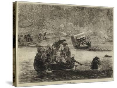 Crossing a River in India-Felix Regamey-Stretched Canvas Print