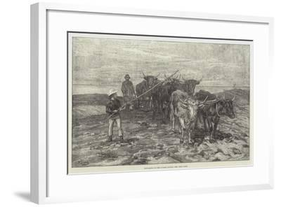 Ploughing on the Sussex Downs-Frank Dadd-Framed Giclee Print