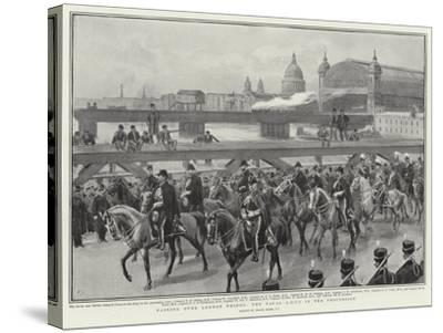 Passing over London Bridge, the Naval Adc's in the Procession-Frank Dadd-Stretched Canvas Print