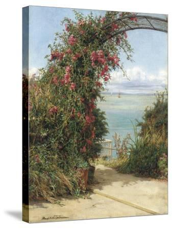 A Garden by the Sea-Frank Topham-Stretched Canvas Print