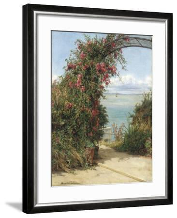 A Garden by the Sea-Frank Topham-Framed Giclee Print