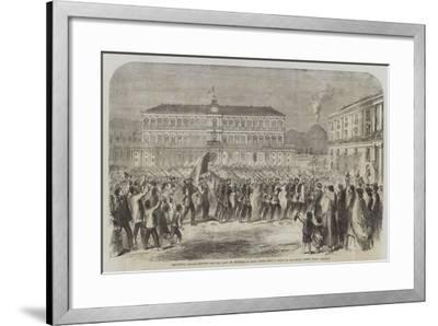 The British Brigade Marching into the Largo St Francesco Di Paola, Naples-Frank Vizetelly-Framed Giclee Print