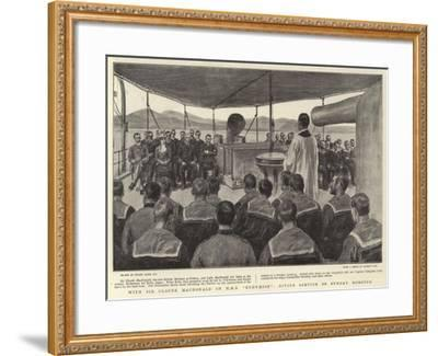 With Sir Claude Macdonald on H M S Endymion, Divine Service on Sunday Morning-Frank Dadd-Framed Giclee Print