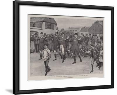Celebrating St Hubert's Day at Bievre in the Ardennes, the Hunt Going to Mass-Frank Dadd-Framed Giclee Print
