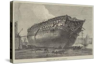 Breaking-Up HMS Queen at Rotherhithe-Frank Watkins-Stretched Canvas Print