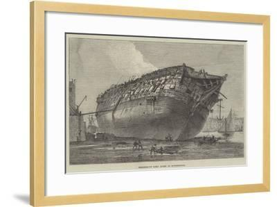 Breaking-Up HMS Queen at Rotherhithe-Frank Watkins-Framed Giclee Print