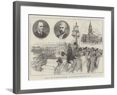 Opening of the New Townhall at Birkenhead, the Mayor Speaking from the Balcony Outside-Frank Watkins-Framed Giclee Print