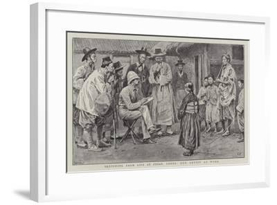 Sketching from Life at Fusan, Corea, Our Artist at Work-Frank Dadd-Framed Giclee Print