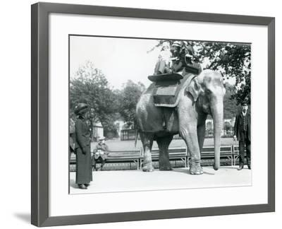 Female Indian Elephant 'Lukhi' Giving Children a Ride with Keeper Charles Eyles-Frederick William Bond-Framed Photographic Print