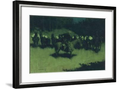 Scare in a Pack Train, 1908-Frederic Remington-Framed Giclee Print