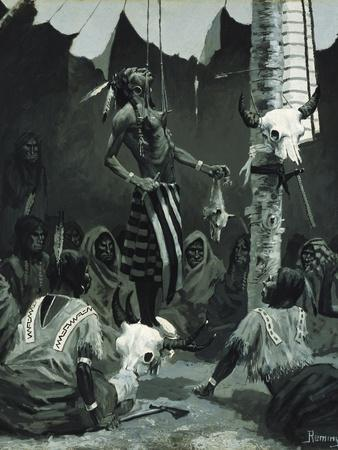 Mandan Initiation Ceremony (The Sundance), 1888-Frederic Remington-Stretched Canvas Print