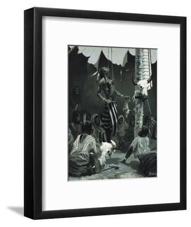Mandan Initiation Ceremony (The Sundance), 1888-Frederic Remington-Framed Giclee Print