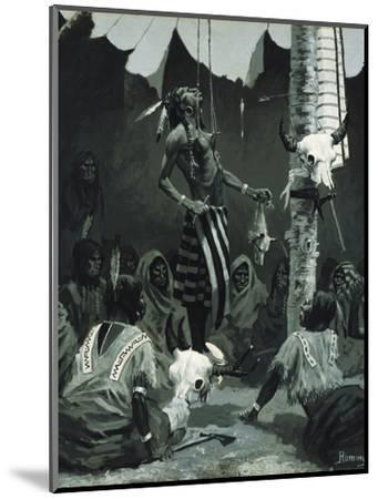 Mandan Initiation Ceremony (The Sundance), 1888-Frederic Remington-Mounted Giclee Print