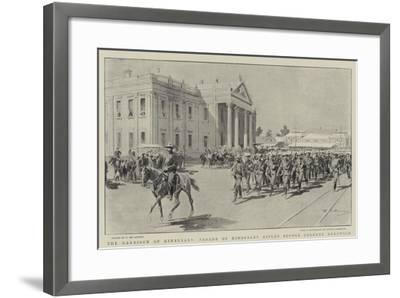 The Garrison of Kimberley, Parade of Kimberley Rifles before Colonel Kekewich-Frederic De Haenen-Framed Giclee Print