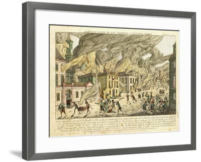 View of New York During the Great Fire of 1776; Representation Du Fue Terrible a Nouvelle York-Franz Xavier Habermann-Framed Giclee Print