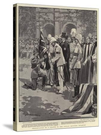 Presentation of a Colour to the Ceylon Mounted Infantry-Frederic De Haenen-Stretched Canvas Print