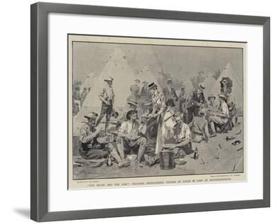 The Brave and the Fair, Troopers Entertaining Friends at Lunch in Camp at Pietermaritzburg-Frederic De Haenen-Framed Giclee Print