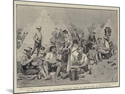 The Brave and the Fair, Troopers Entertaining Friends at Lunch in Camp at Pietermaritzburg-Frederic De Haenen-Mounted Giclee Print